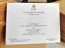PHOTO Prince William and Kate Middleton's wedding invitations