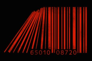 Businessman standing beside collapsing barcode lines